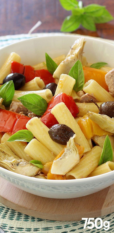 Salade de pâtes aux poivrons, artichauts et thon | Recette ...
