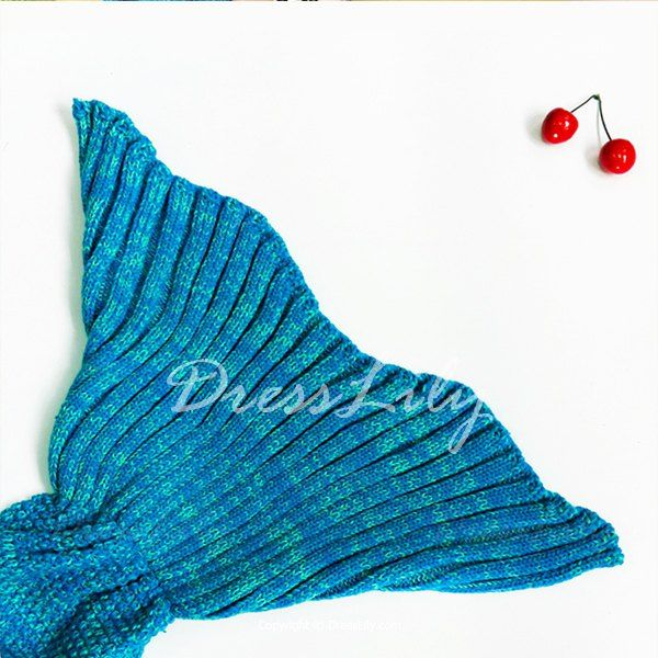 Chic Women's Knitted Warm Fishtail Blanket, WATER BLUE, ONE SIZE(FIT SIZE XS TO M) in Blankets & Throws   DressLily.com