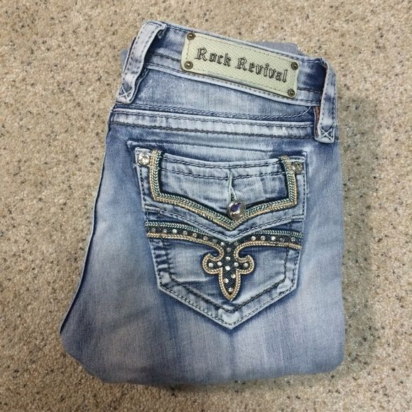 Size 27 light wash Rock Revival jeans. Size 27. Original Rock Revivals. Light wash. Straight leg opening. Great condition just don't fit anymore. Rock Revival Jeans Straight Leg