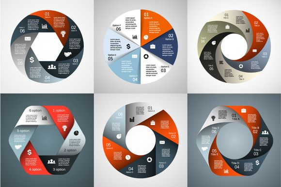 Infographics for 6 options. Set 1 by theseamuss on Creative Market