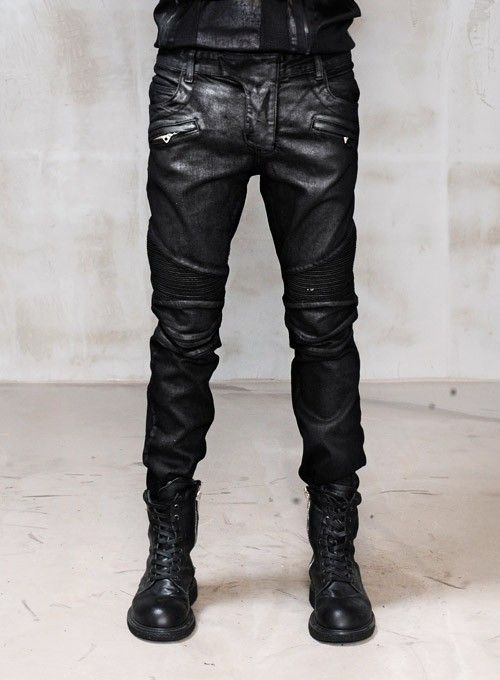 Mens Black Waxed Jeans