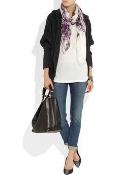 Cashmere Silk Scarf - Faded Floral Jeans by VIDA VIDA 4hQrDsb