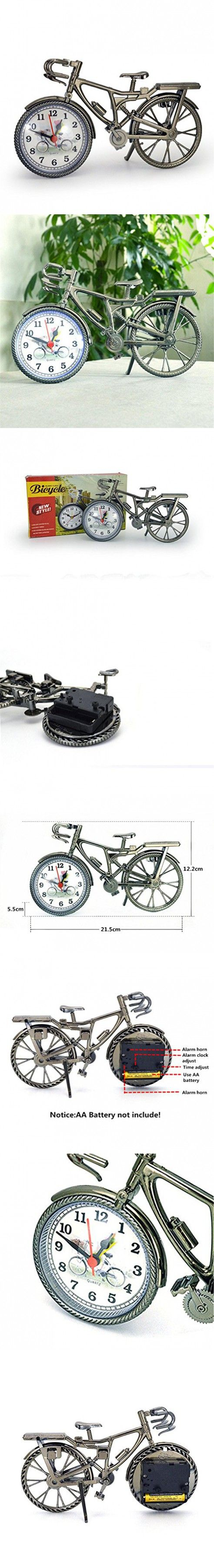 Happy-top® Portable Handmade Vintage bicycle clock Table Clock For Children Kids Bicycle Alarm Clock Home Art Decoration