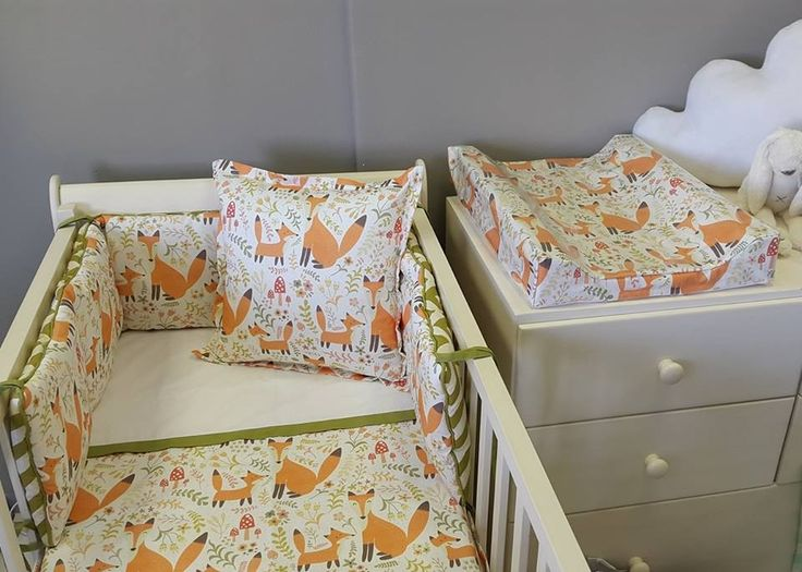 Our #FoxyForest fabric is designed and printed exclusively for Studio Collection! Perfect for any #FoxTheme nursery, made to suit both a #BabyBoy or a #BabyGirl!  #BabyBedding #BabyLinen