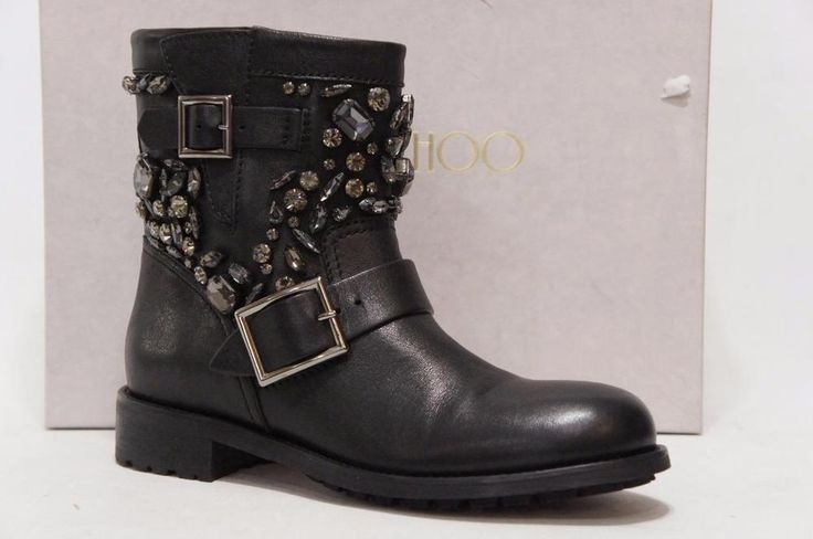 JIMMY CHOO YOUTH CRYSTAL MOTORCYCLE BIKE LEATHER  BOOTS 39/8.5$1750 #JimmyChoo #Motorcycle