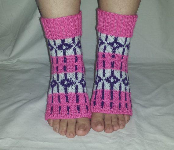 Pink Yoga Socks PiYo Socks Patterned Socks by BareWolfSocks