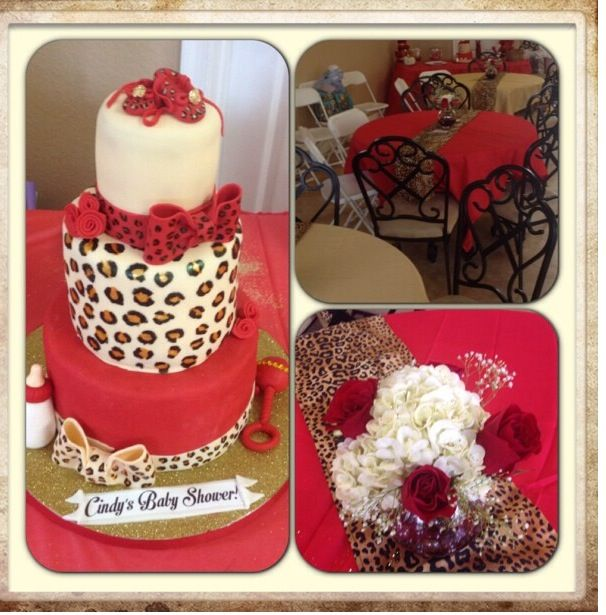 Red and leopard print themed baby shower baby shower for Animal print baby shower decoration ideas