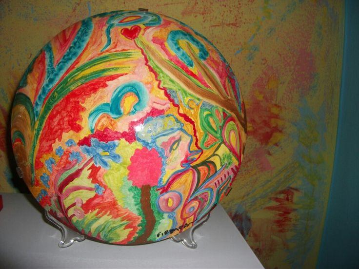 Φωτιστικο απο οπαλινα,ζωγραφισμενο στο χερι