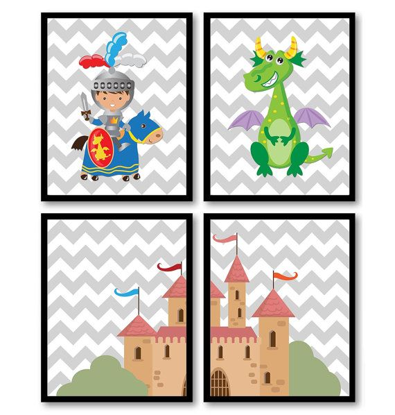 Fairytale Nursery Art Grey Gray Fairy Tale Set of 4 Print Printable INSTANT DOWNLOAD Knight Dragon Castle Boy Kid Room Wall Decor Child Baby