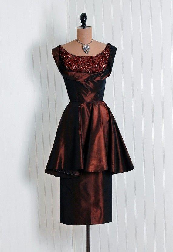 Cocktail Dress, Emma Domb, California: 1950's, metallic heavily-sequined iridescent taffeta, shelf-bust back-bow bodice, skirted peplum pencil skirt.