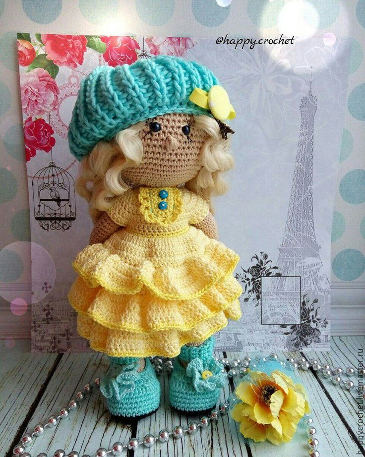 Купить Парижанка - желтый, бирюзовый, кукла ручной работы, кукла, кукла в подарок, кукла интерьерная