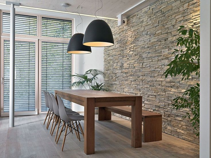 Large Black Pendant Lights Above The Dining Area With Stone Wall Decor  Ideas   Lighting63 best Pendant Lights in large areas images on Pinterest  . Hanging Lights Above Dining Table. Home Design Ideas