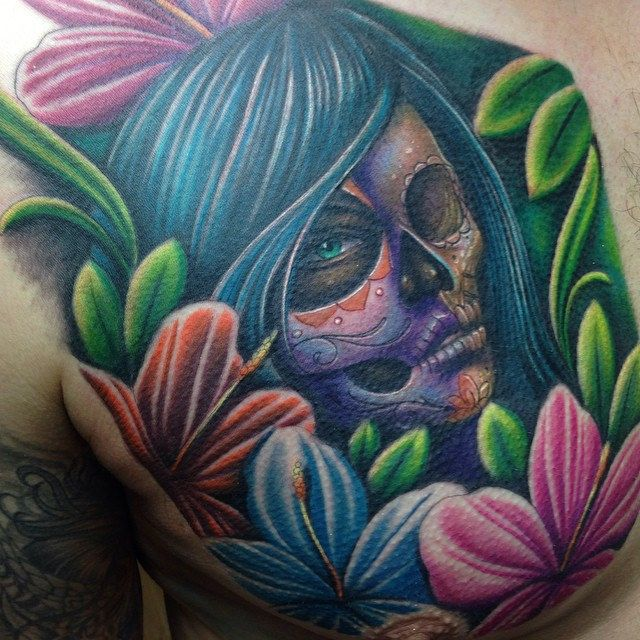 Full colour day of the dead girl / skull tattoo by Craig Holmes @ iron horse tattoo studio Swansea, Wales #dayofthedead #sugarskull #candyskull #skull #dayofthedeadgirl #tattoo #tattoosleeve #ink #inked #newtattoo #instattoo #like #eternalink #girl #mexic