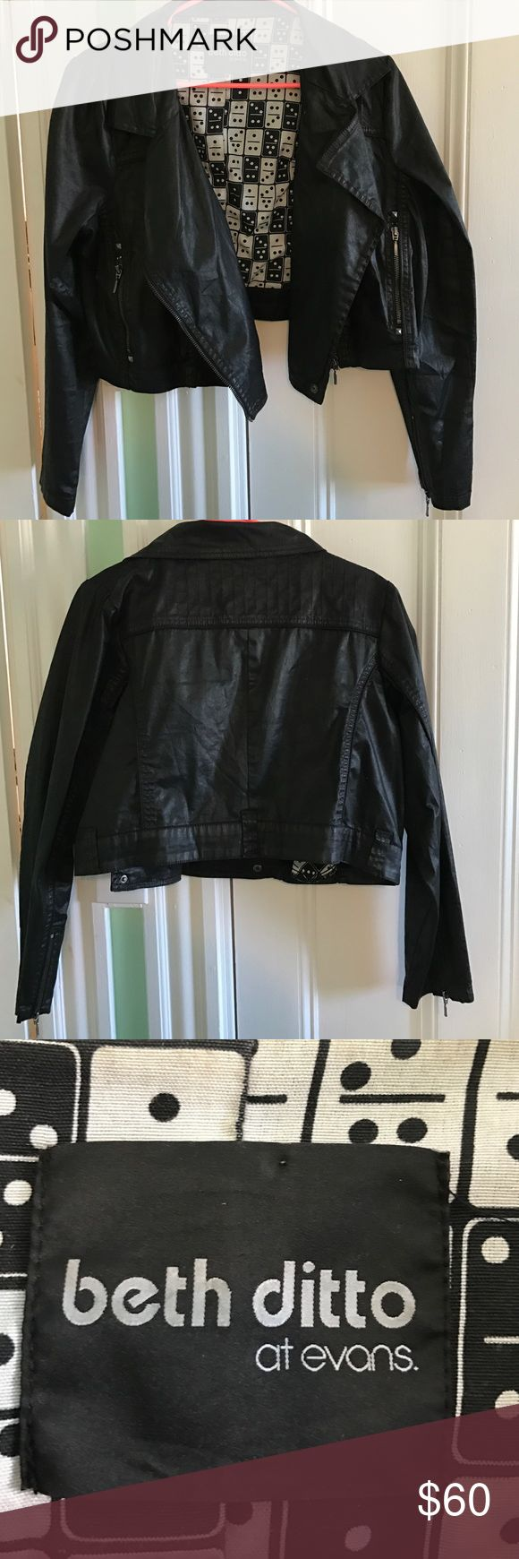 Beth Ditto for Evans cropped biker jacket Beth Ditto for Evans cropped biker jacket. Waxed cotton finish. Pockets. Domino print lining. Rare! UK20/US16 Evans Jackets & Coats