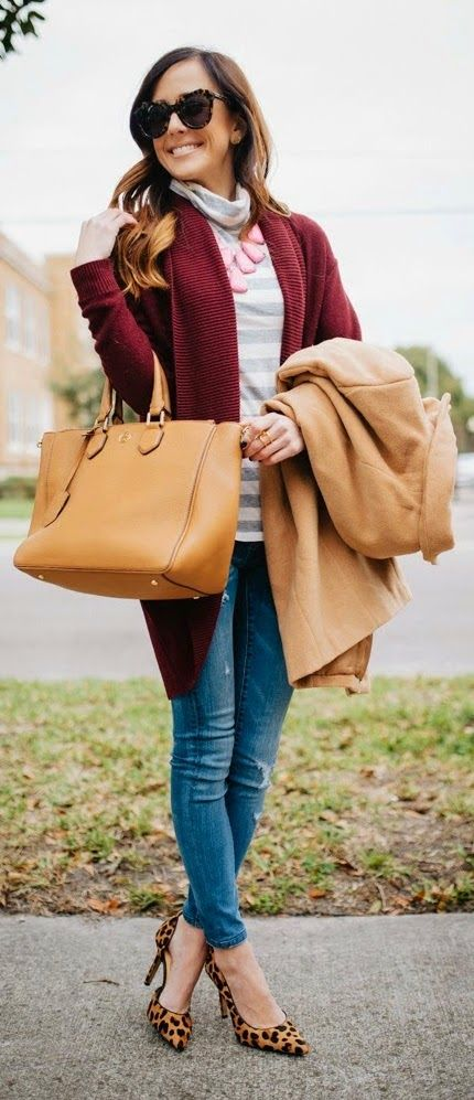 Burgundy Cocoon Cardigan Distressed Skinny Jeans
