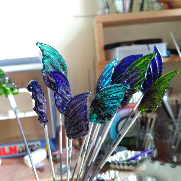 fresh from the kiln ~ #lampworkglass #fairy #wing elements for earrings www.MaidofGlass.co.uk
