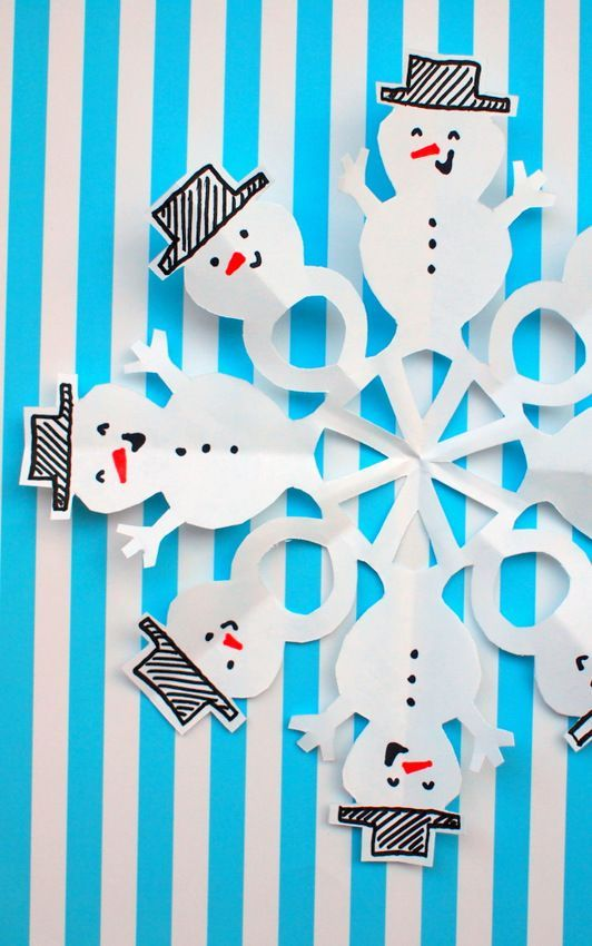 How to cut snowman snowflakes with kids http://www.pinkstripeysocks.com/2015/12/how-to-cut-snowman-snowflakes-2-ways.html?m=1