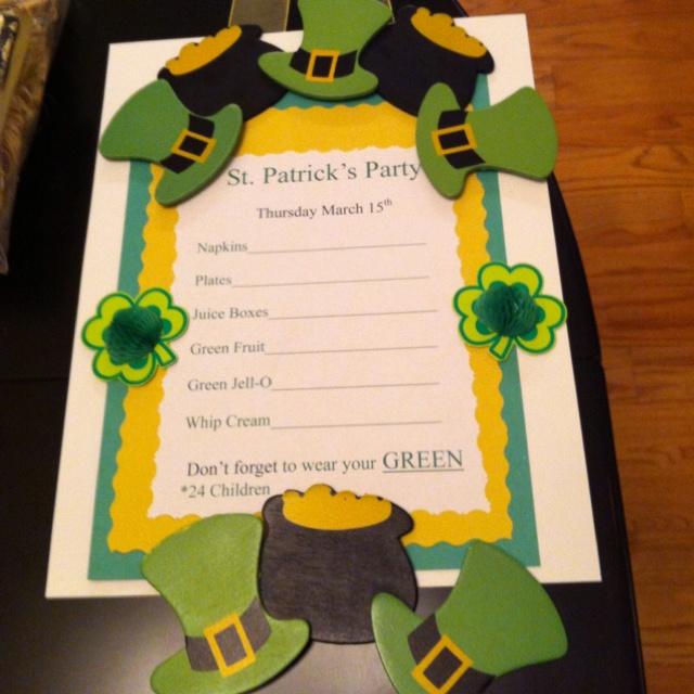 preschool sign up sheet