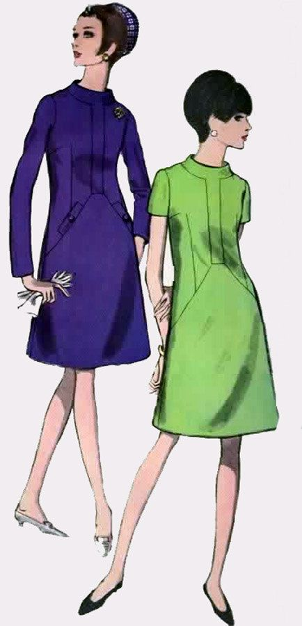 1960s A Line Dress Vogue 6938 with Standing Collar Welt Pockets Top Stitching Vintage 60s Madmen Sewing Pattern Size 12 Bust 32