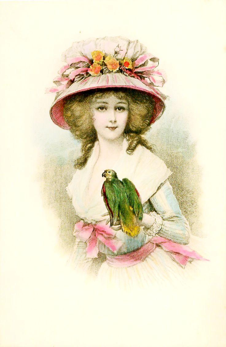 Цветочки, старые открытки шляпки