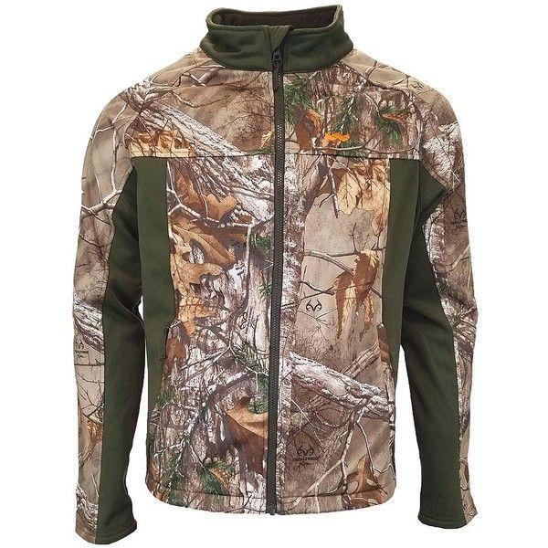 Men's Walls Realtree Camo Softshell Windbreaker Jacket ($59) ❤ liked on Polyvore featuring men's fashion, men's clothing, men's activewear, men's activewear jackets and camo real tree