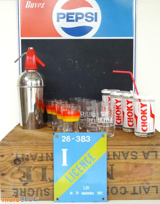 Plaque émaillée LICENCE I. La licence 1 pour boisson sans alcool. Objet publicitaire Pepsi Choky Bistrot www.muluBrok