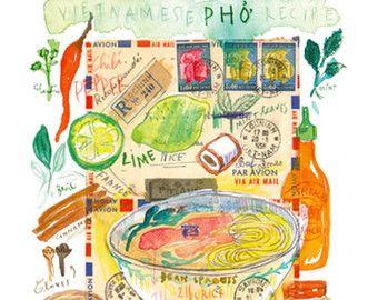 Impresión de Banh Mi. Ilustración de la receta de sandwich vietnamita.  Archivo de Giclee de mi ilustración acuarela original. Firmado con lápiz. Formato: Vertical. Impreso en papel prensado en caliente de BFK Rives arte fino, superficie lisa, 140 libras, 100% algodón (libre de ácido), utilizando tintas de pigmento de archivo. El papel Rives francés es magnífico, captura la esencia de la pintura de acuarela original.  Tamaño:  * 8 X 10: El papel mide 8 X 10 pulgadas (20,3 cm X 25,4 cm)  * 8…