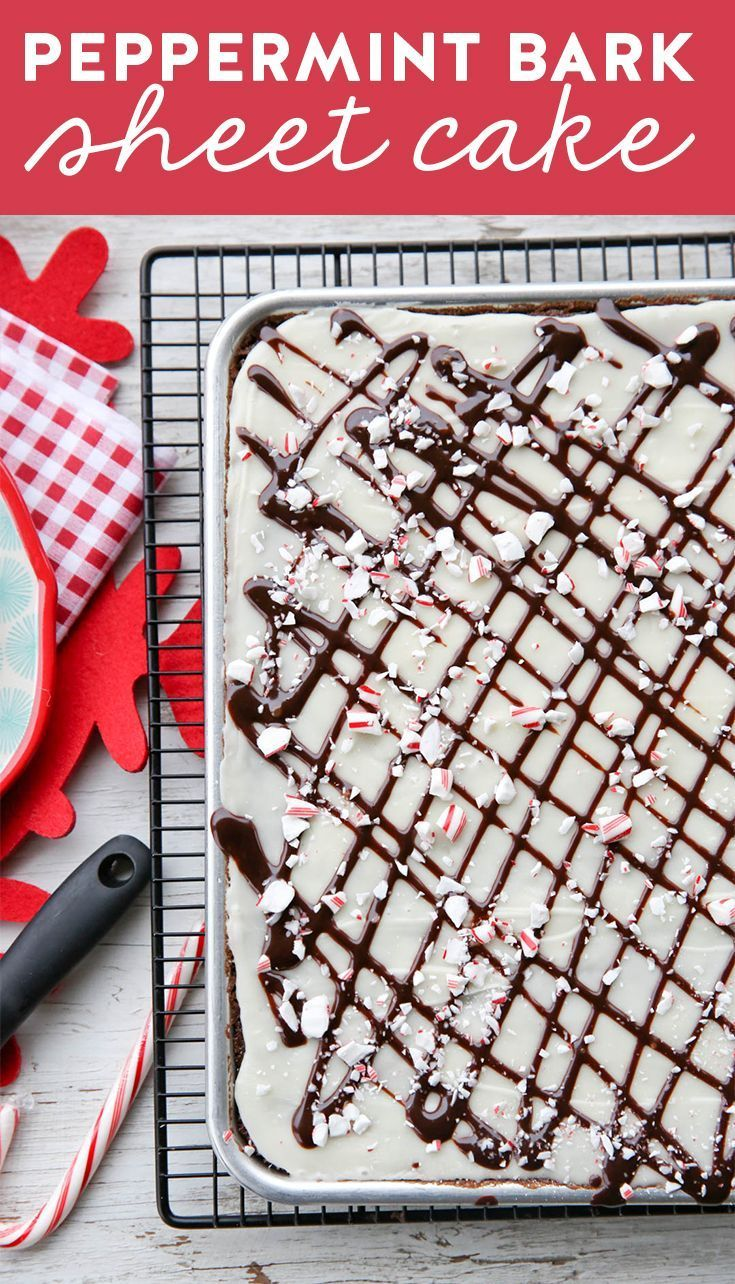 Peppermint Bark Sheet Cake with white chocolate and crushed candy canes. Yummy holiday treat!