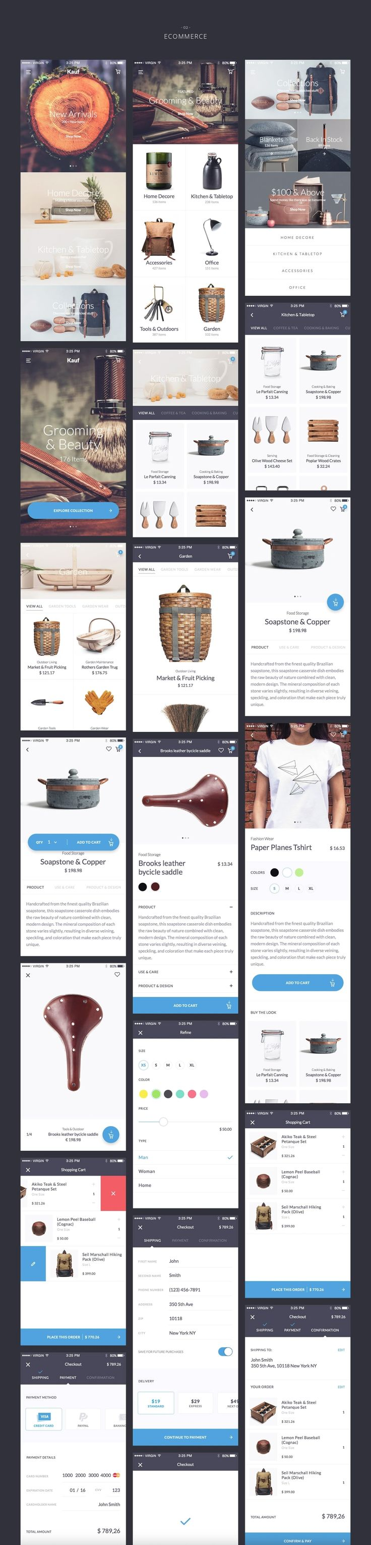 Kauf iOS UI Kit is the first interaction ready, high quality premium pack of 67 handcrafted stress-free screens, meant to speed up your design workflow. This pack comes with 5 categories (Sign-in & Sign-up, E-commerce, Reader & Articles, Profiles & Social, Menu), which contains ready-to-use full vector screens. You can edit, customize, mix the UI elements as you like.