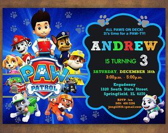 Paw Patrol Invitation, Paw Patrol Birthday Party, Paw Patrol Birthday Invitation, Personalized, Dogs Invite, Rocky, Everest, Digital File