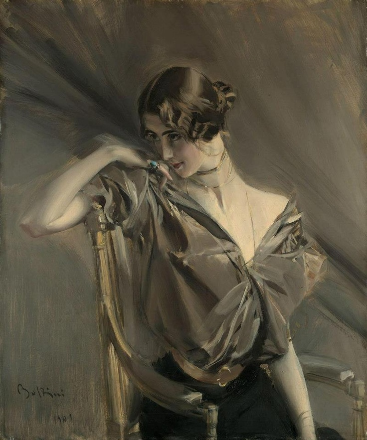 Cléo de Mérode 1901 / Boldini (from Grey Matter) elegant taupe... she leaves me with a secret...