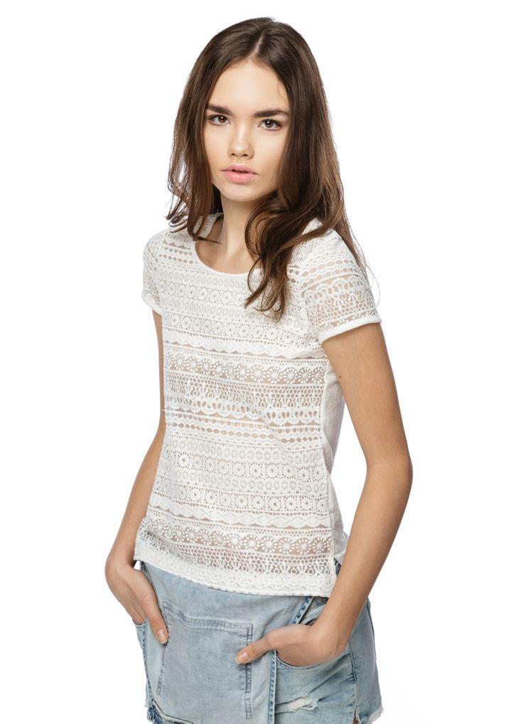 Купить ФУТБОЛКА С КРУЖЕВОМ (LT2O92) в интернет-магазине одежды O'STIN