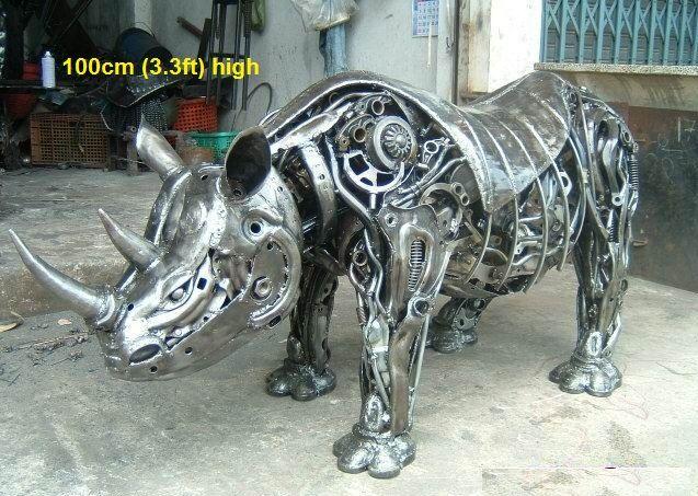 "Rhino rhinoceros, from ""Scrap Metal Art Thailand (since 2012-07): over 50 welding artists; ceo: Namfon Suktawee • Namfon.Suktawee@Gmail.com • http://www.scrap-metal-art-thailand.com"