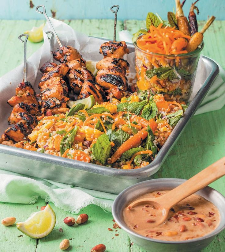 Chicken kebabs with peanut sauce and ancient grain salad - rooi rose
