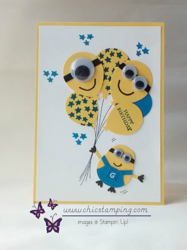 Adeline Marechal:  Chic Stamping- Cute minion birthday card - 2/16/16.  (Pin#1:  Children: General.  Pin+: Balloons; Punch Art: Children).