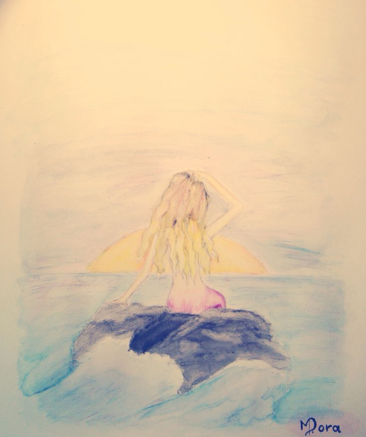 Mermaid painting!!! Made from water color pencils !!! By DORA MEIDANI . DO YOU LIKE IT ???
