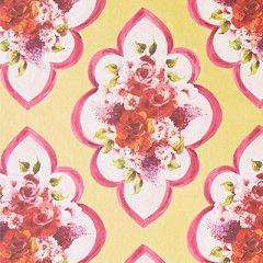 Behang, gele achtergrond, bloemen