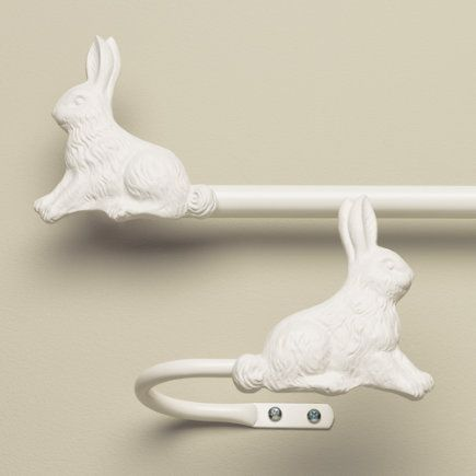 Adorable Kids Bunny Curtain Rod & Holdbacks - 28 - 48 Bunny Rod (Antique White)