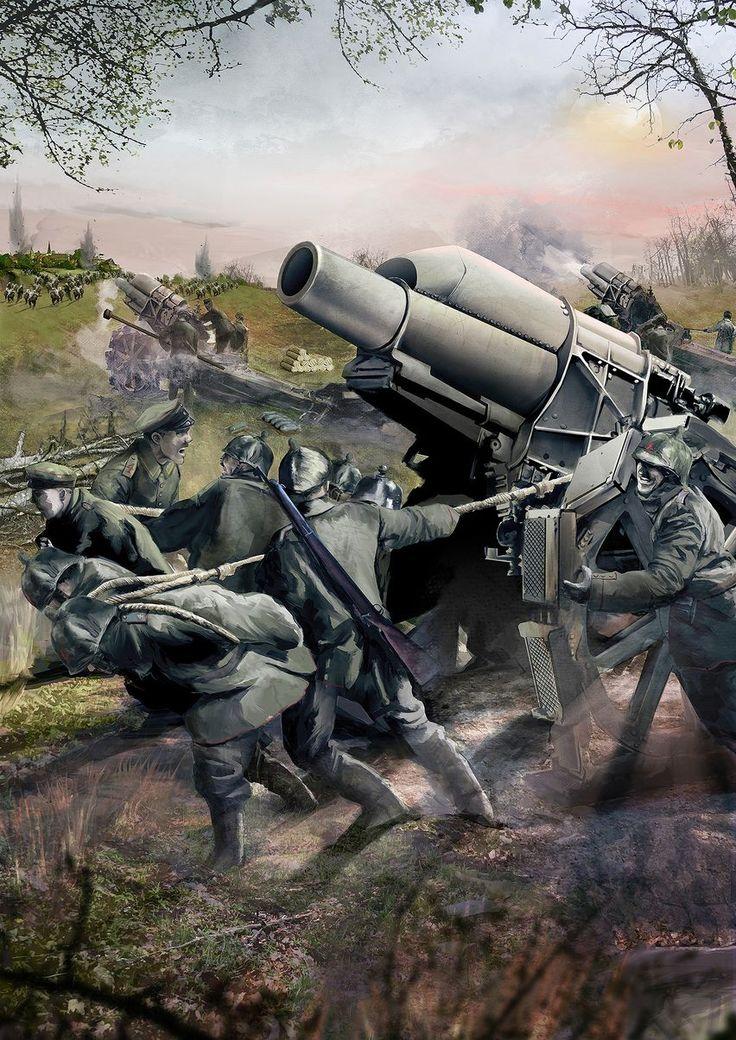 Skoda de 305 mm durante el asedio de Lieja, 1914. Ángel Trancón para Desperta Ferro. Más en www.elgrancapitan.org/foro