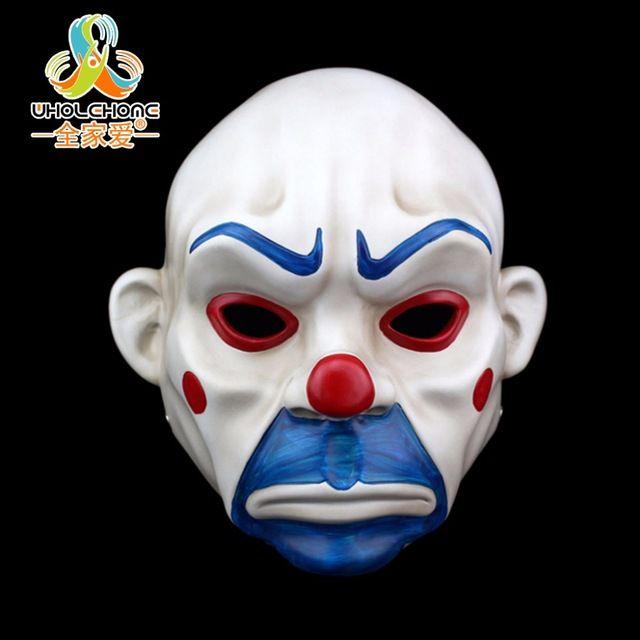 Adulto batman dark knight joker payaso máscara de ladrón de bancos traje de fiesta de disfraces de halloween máscara de resina de lujo envío gratis