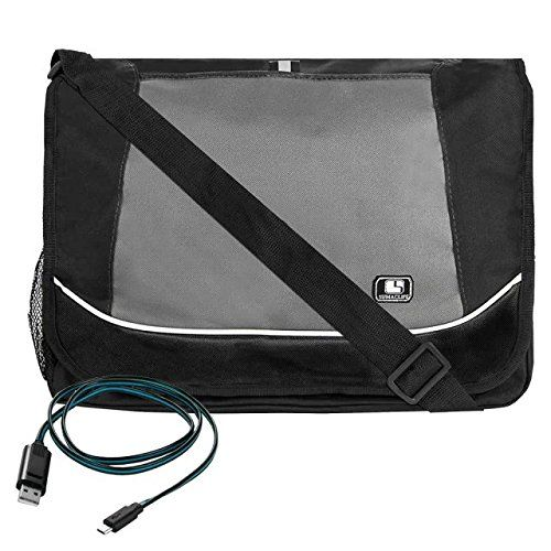 SumacLife+Professional+Canvas+Briefcase+Messenger+Shoulder+Bag+for+Toshiba+Satellite+Radius+15.6+inch+++Micro+USB+Cable