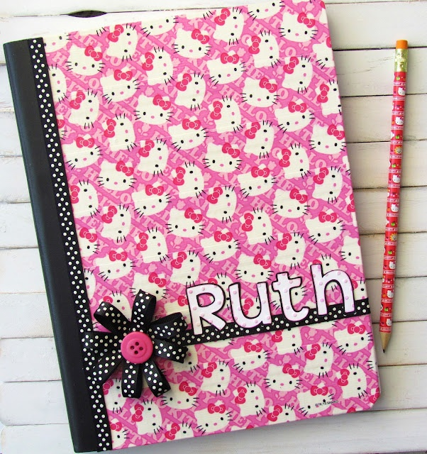 Recovered notebook using Hello Kitty Duct Tape and Cricut