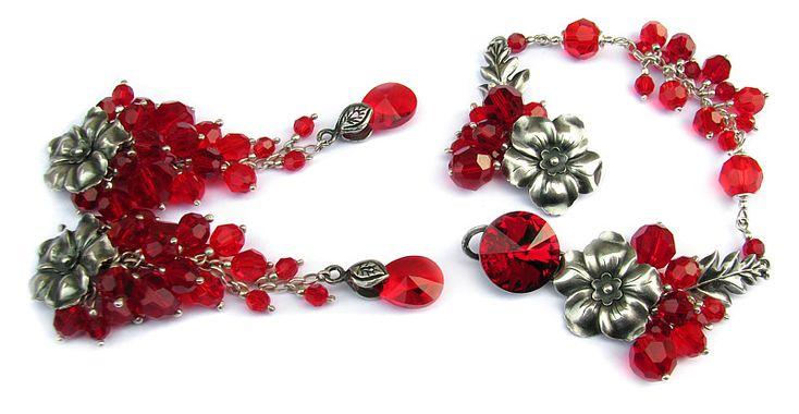 Long earrings & bracelet - sterling silver, with flowers, leaves and lots of Swarovski crystals in red, made for my friends wedding / Długie kolczyki i bransoletka - srebro z kwiatami, liśćmi i mnóstwem kryształów Swarovskiego w czerwieni, na wesele przyjaciółki <3