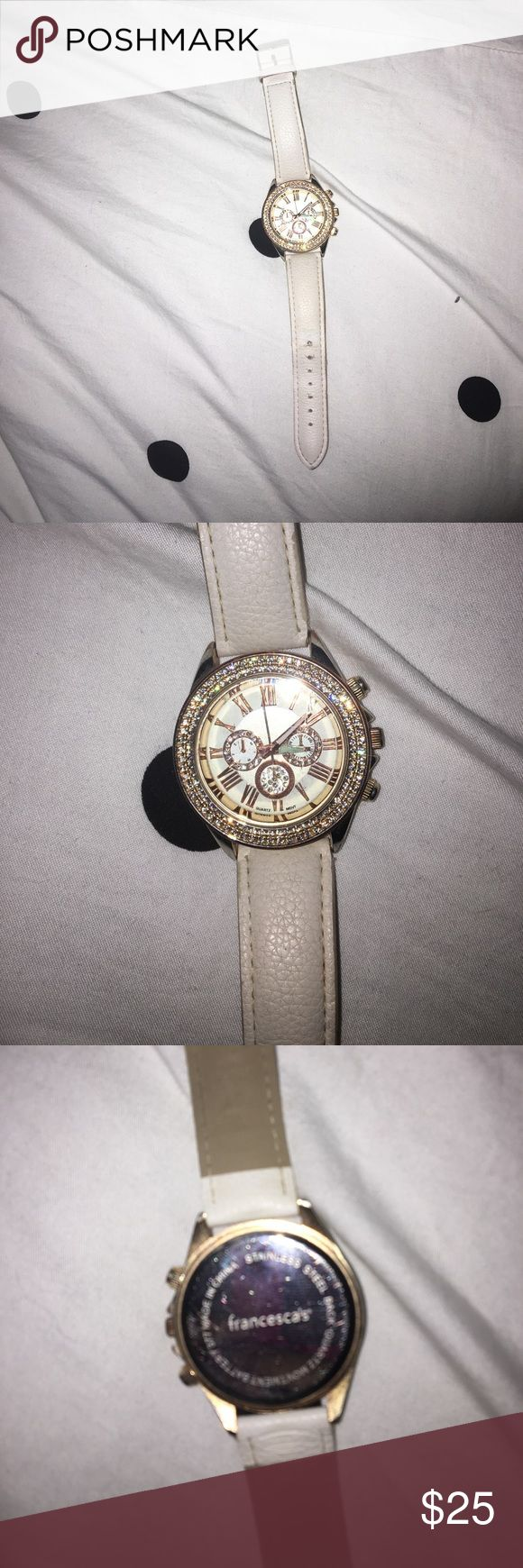 Francesca's watch Gold face with stones around. And cream band.  Numbers in Roman numeral Francesca's Collections Accessories Watches