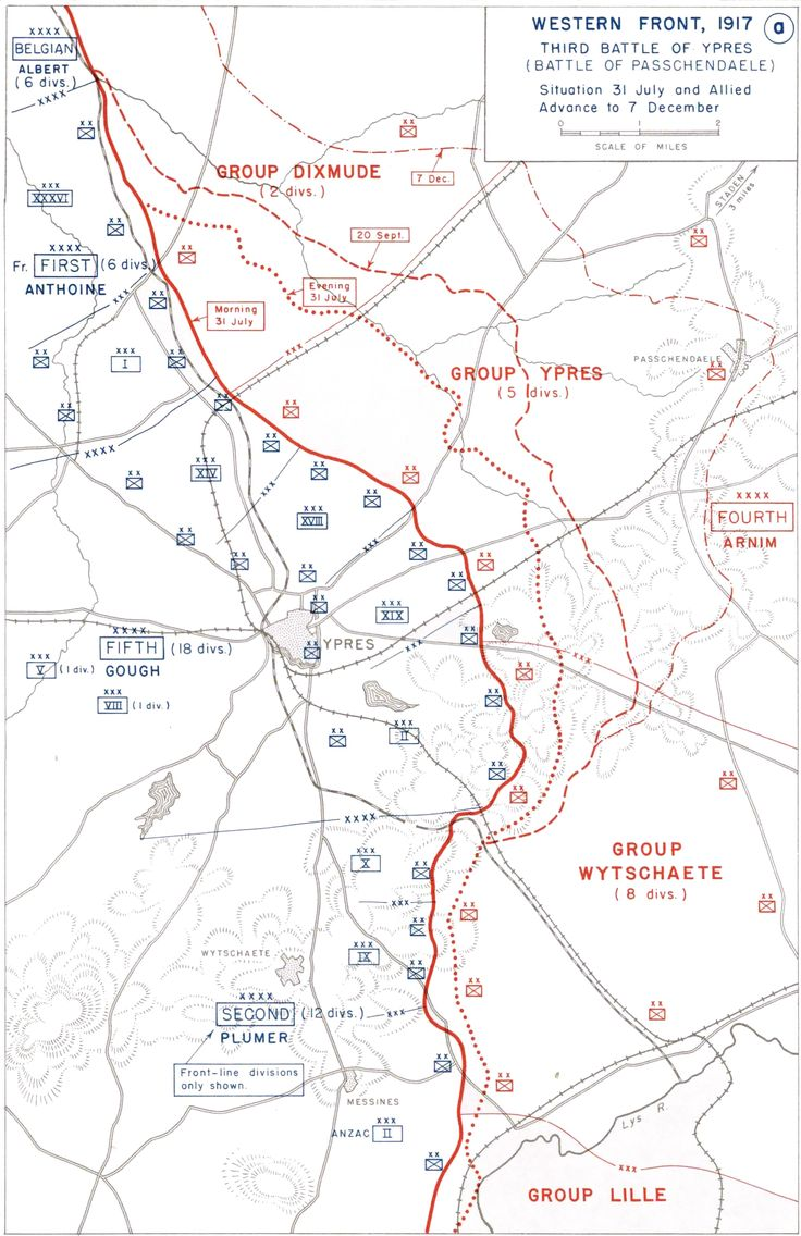 Map outlining troop movements during the Third Battle of Ypres fought in the First World War