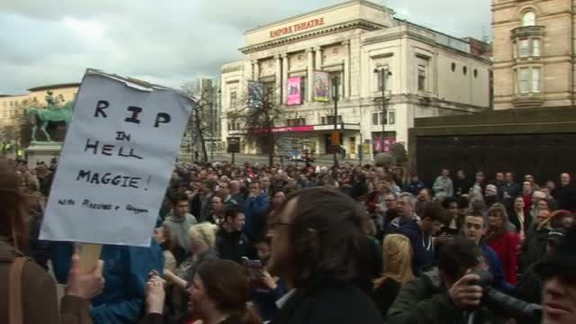 Thatcher Death Celebration Demonstration outside St Georges Hall in Liverpool