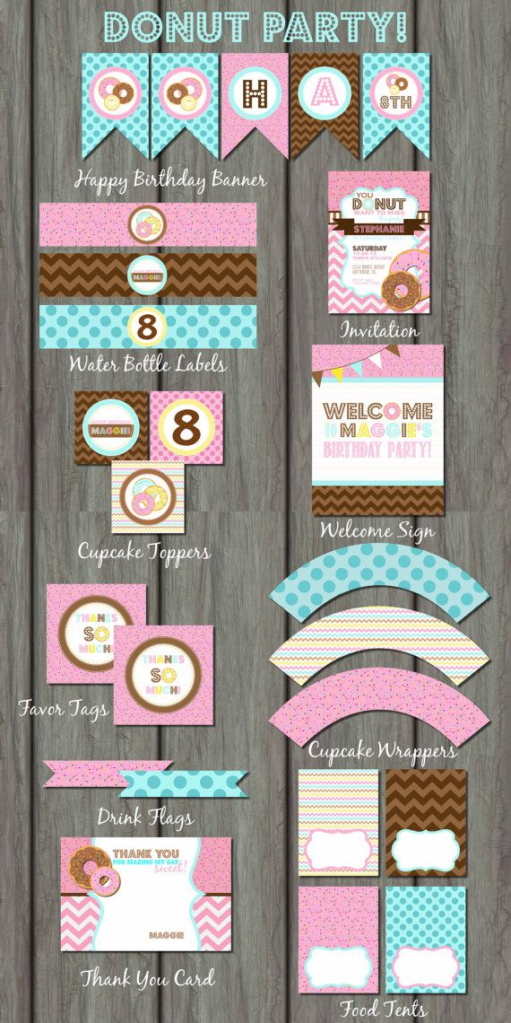 Donut Party Kit Donut Party Package by PartyInvitesAndMore on Etsy, $30.00