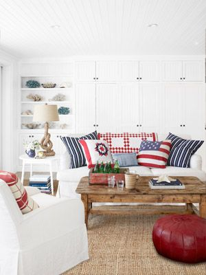 4th of July Decorating - Patriotic Decor - Country LivingLiving Rooms, Decor Ideas, Living Room Design, Livingroom, Red White Blue, 4Th Of July, Red White And Blue Room, Blue Living Room, Pillows
