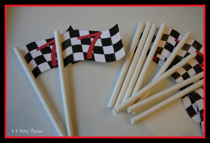 Cupcake or Cake Flags ~ Racing theme birthday