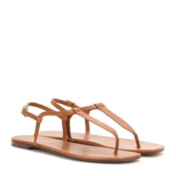 Saint Laurent Leather Sandals ($320) ❤ liked on Polyvore featuring shoes, sandals, flats, flat sandals, sapatos, brown, brown leather sandals, flat pumps, flat shoes and leather flats